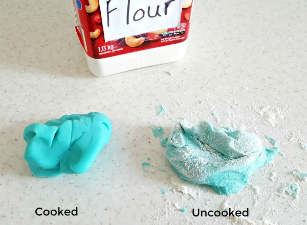 Add flour to homemade play dough to prevent sticking to table top.