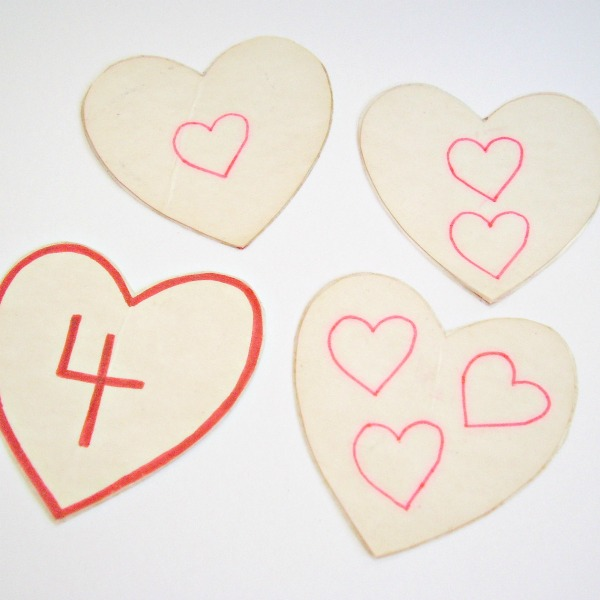 Heart shaped numbered Valentine cards