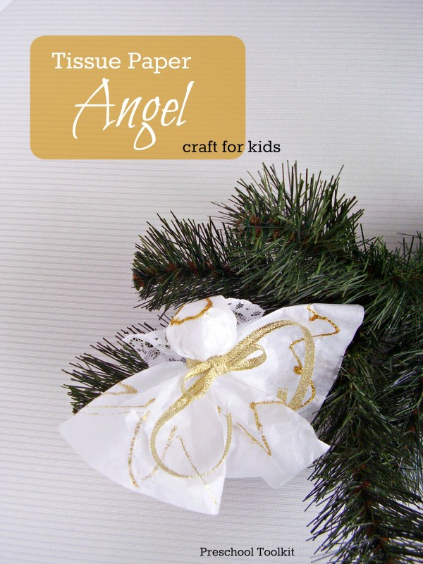 Christmas angel preschool craft with tissue paper