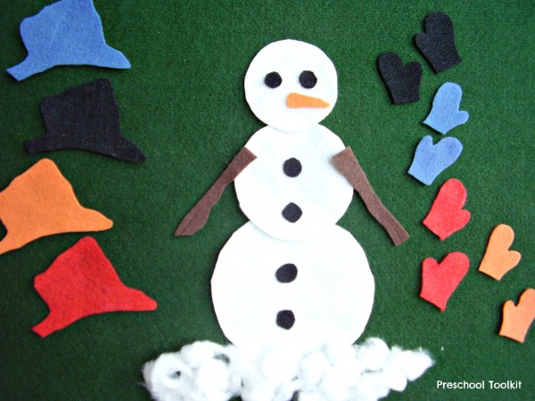 Snowman with matching mittens and hat felt board activity