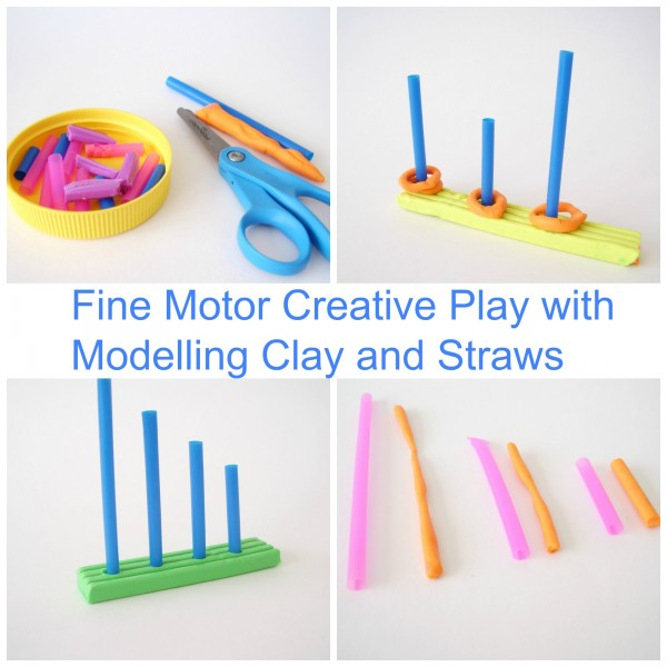 Preschool fine motor activity with clay and straws