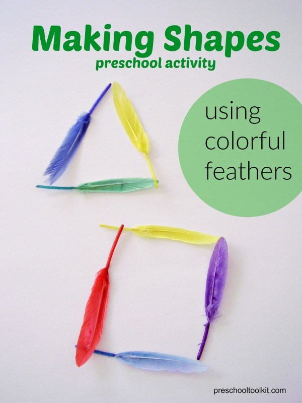 Preschool math activity with feathers