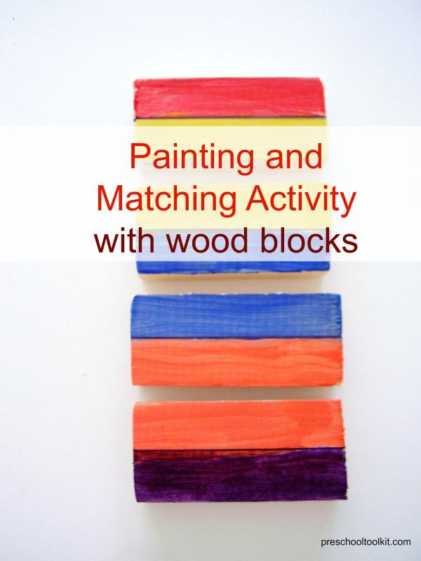 Wood blocks paint activity for kids