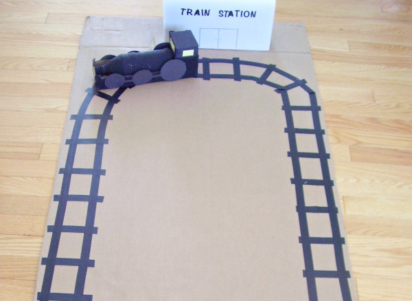 Cardboard and tape train tracks craft