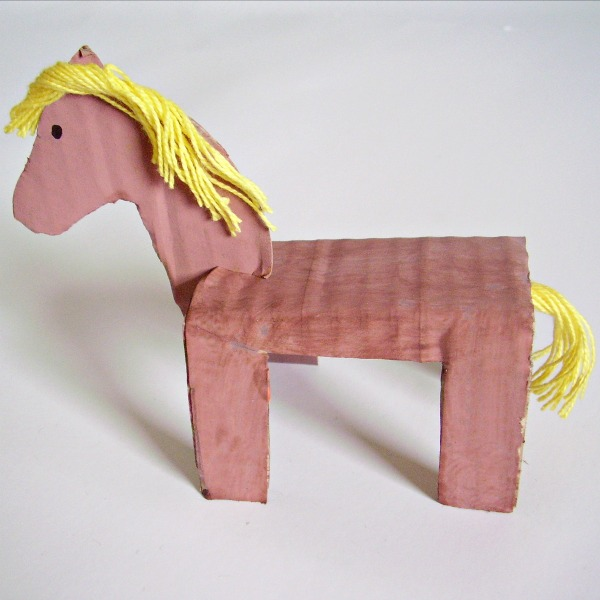Cardboard horse preschool craft and activity