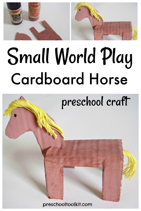 Cardboard horse small world play preschool craft