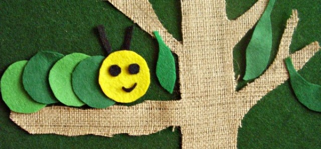 Caterpillar and leaves felt cut outs activity for kids
