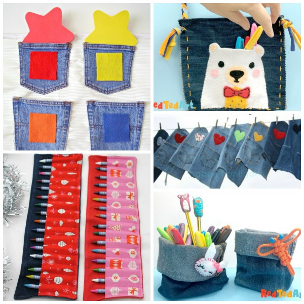 Denim crafts made with recycled jeans
