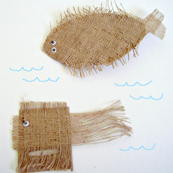 Easy burlap fish craft for kids