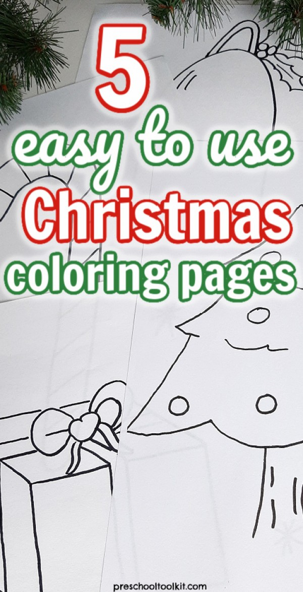 Christmas theme coloring pages easy for kids