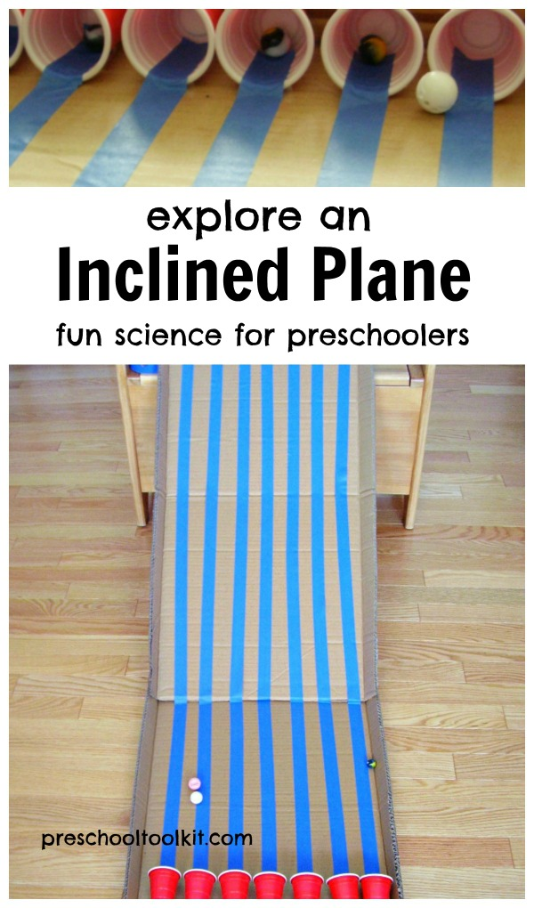 Exploring an inclined plane with a fun science activity for preschoolers