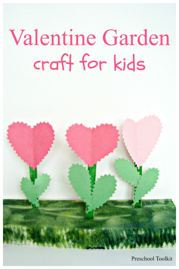 Flower garden Valentine craft for preschoolers
