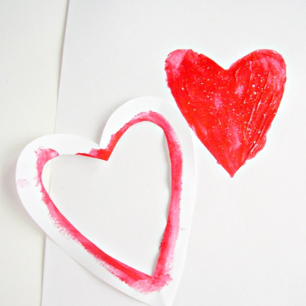 Heart shaped stencils Valentine paintings for kids