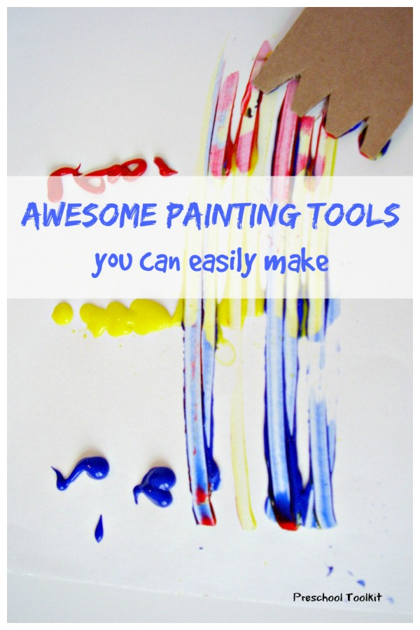 Homemade painting tools using cardboard for kids art activities