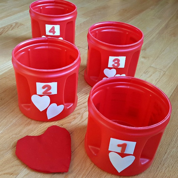 Indoor bean bag toss game for Valentine theme