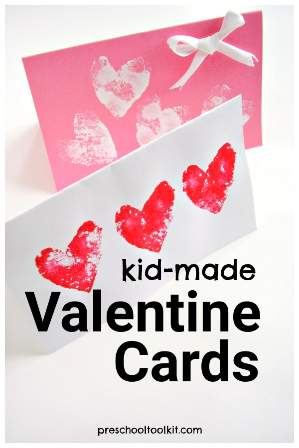 Kid made Valentine cards painting activity