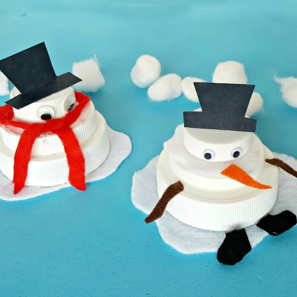 Melting snowman winter theme jar lid craft for kids