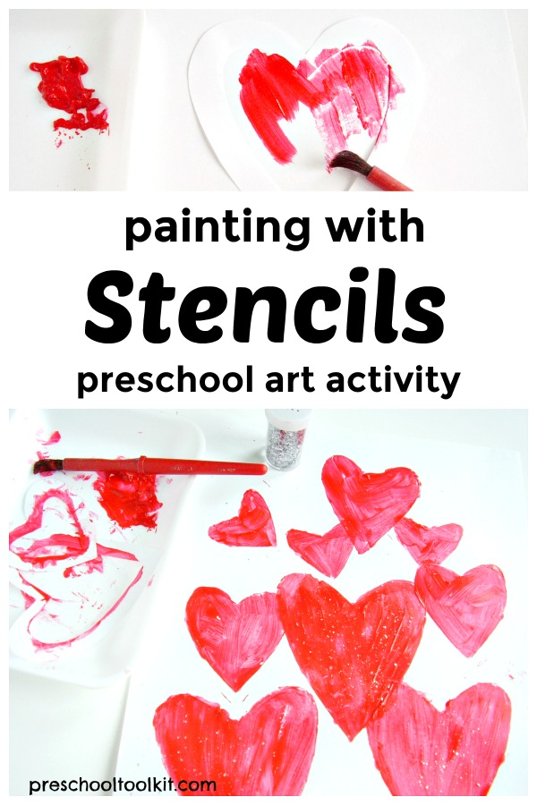Painting with stencils preschool art activity