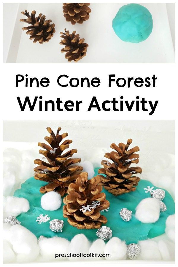 Pine cone forest winter craft and activity for preschoolers