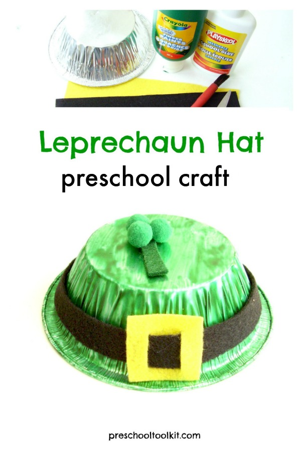 Preschool St. Patricks Day craft leprechaun hat