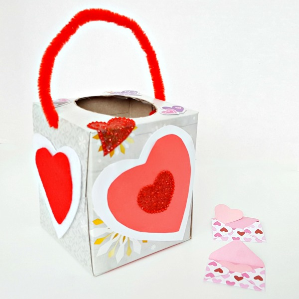 Preschool Valentine craft with recycled tissue box