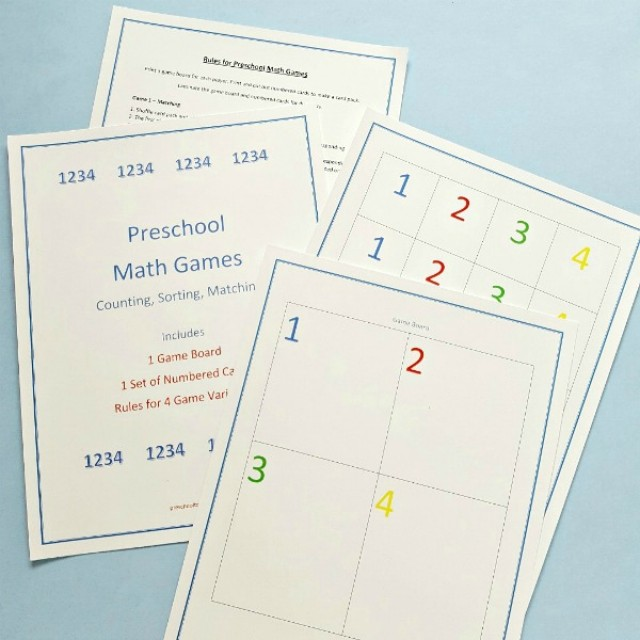 Preschool math games for early counting and sorting