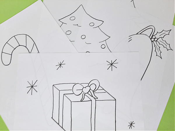 Prek coloring sheets with Christmas drawings