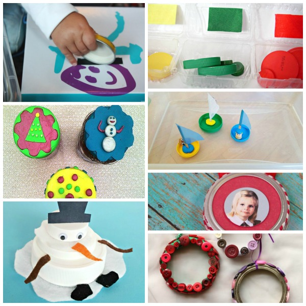 Recycled jar lid crafts for kids