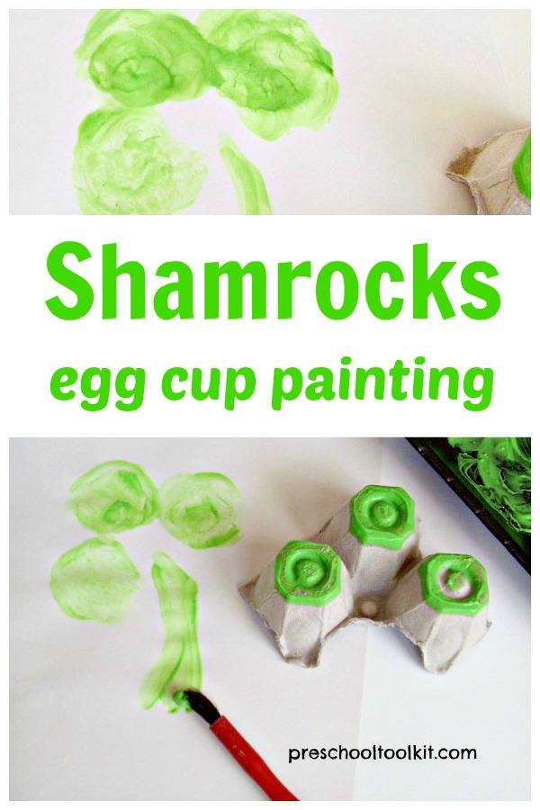Shamrocks St. Patrick's Day painting activity for preschoolers