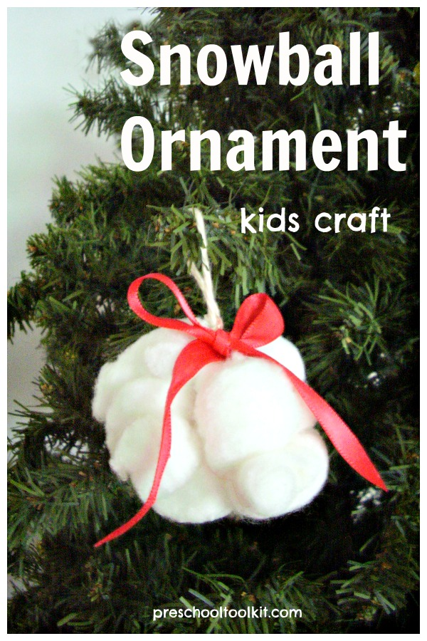 Snowball ornament sensory and fine motor kids craft