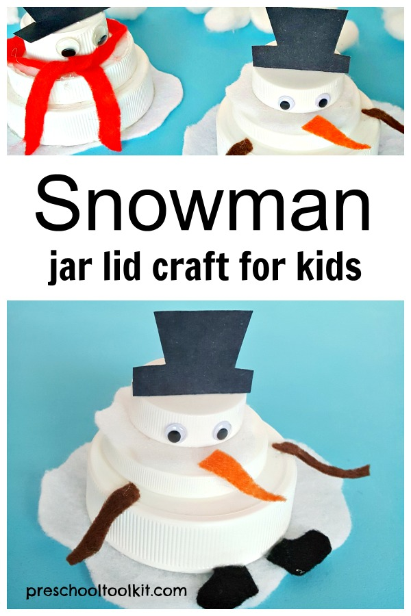 Snowman jar lid craft for kids