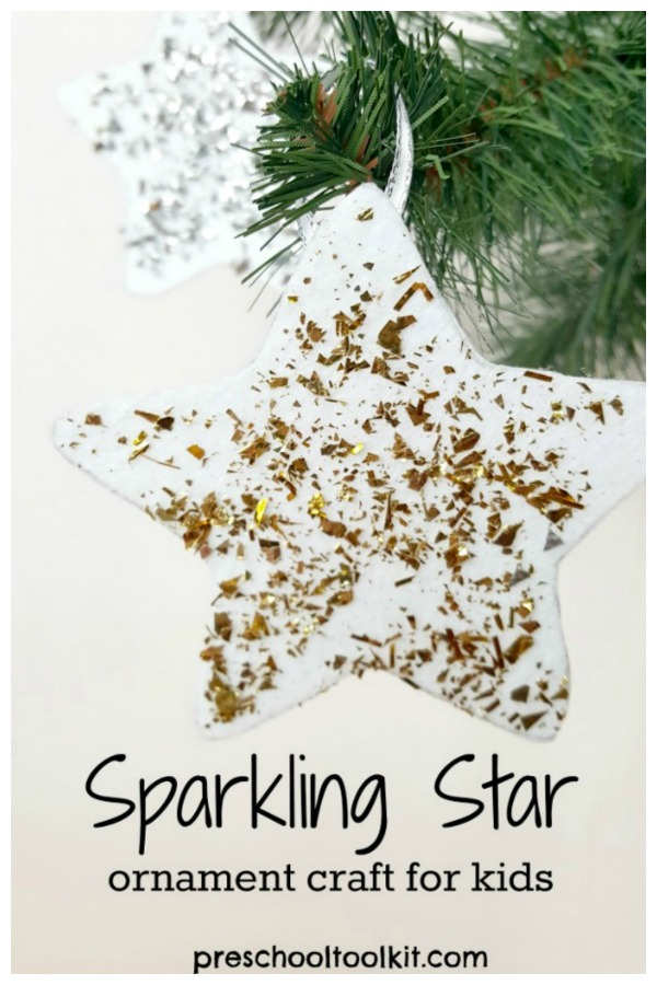 Sparkling star Christmas ornament preschool craft