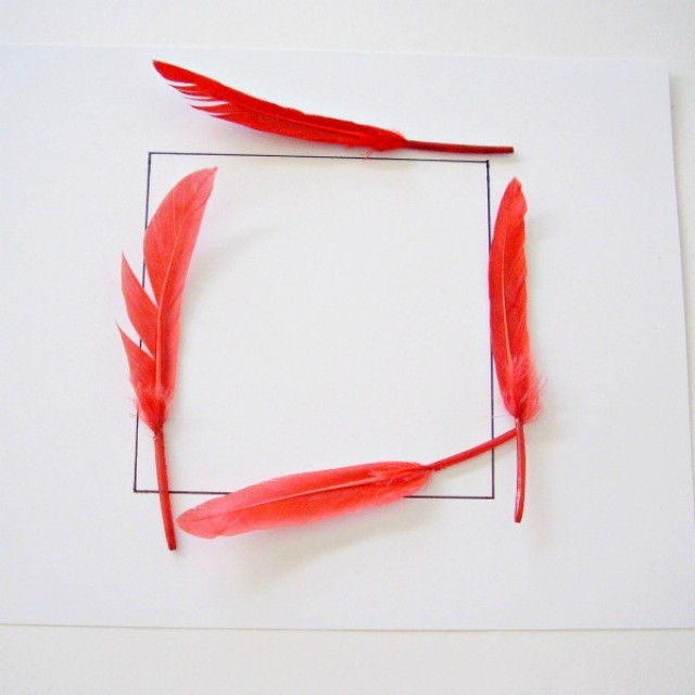Square shape outlined with feathers in a preschool math activity