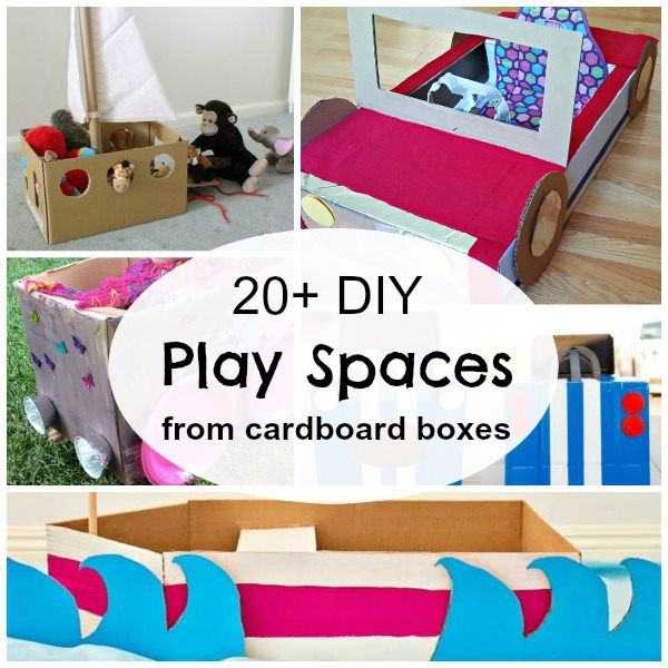 20 kid size props using recycled cardboard boxes