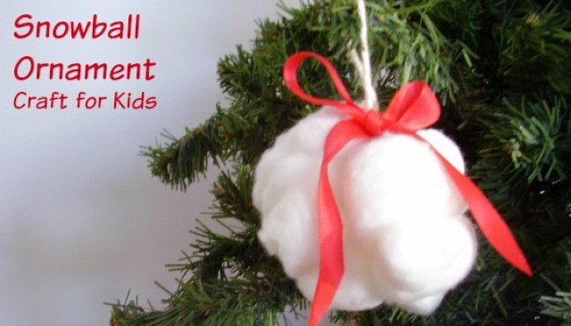 Snowball Christmas ornament for kids to make - Preschool Toolkit