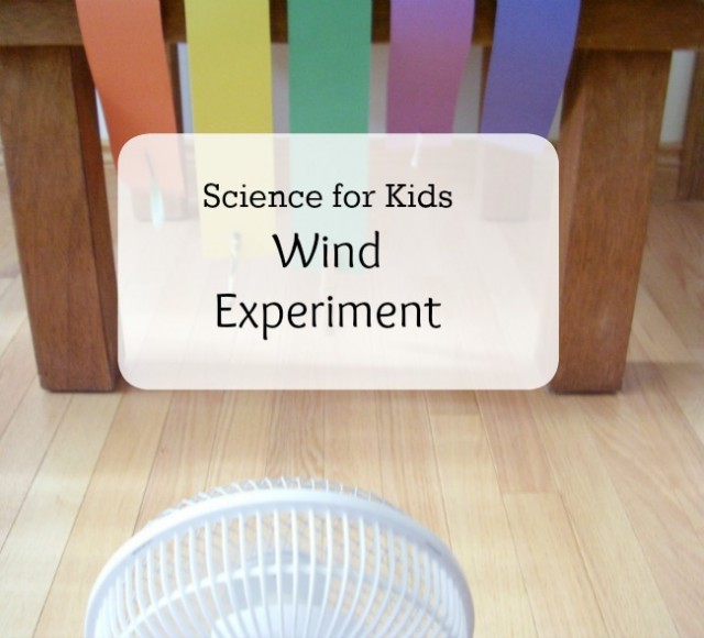 Wind experiment with a small fan for preschoolers