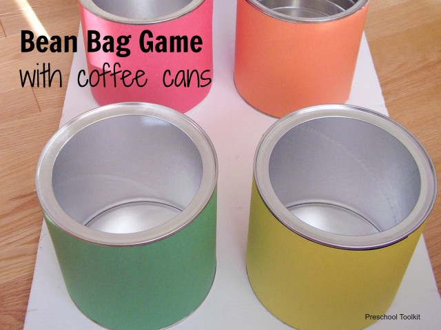 Bean bag game with coffee cans Preschool Toolkit