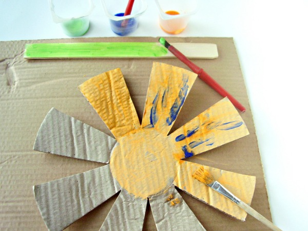Big cardboard flower craft for kids