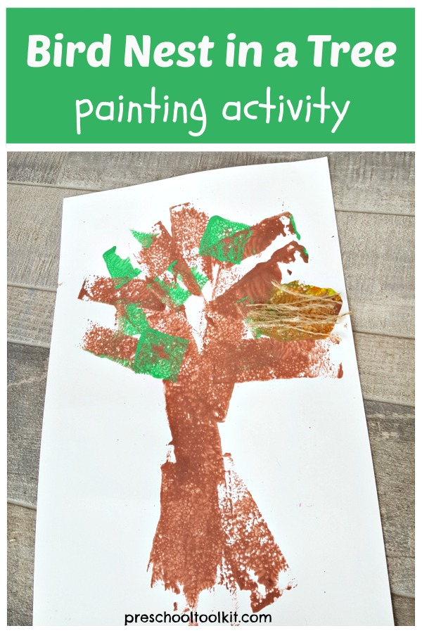 Bird nest and tree preschool painting with foam shapes
