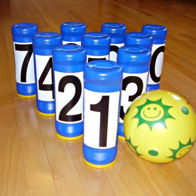 Bowling game for indoor play with preschoolers