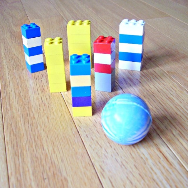 Bowling with building blocks preschool activity