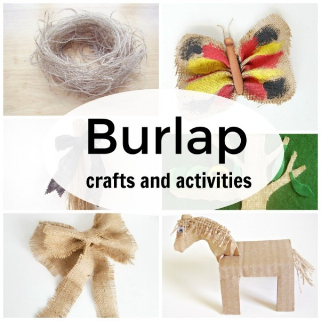 Burlap fabric used in family crafts and activities