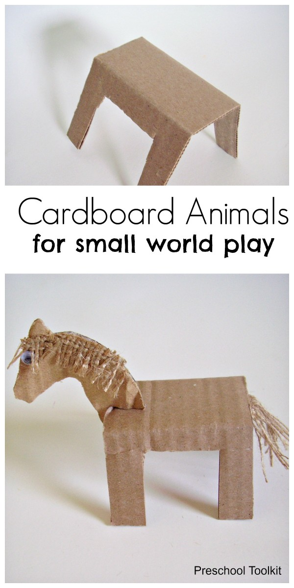 Cardboard animals kids craft and small world activity