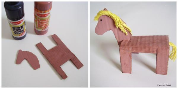 Cardboard animals kids craft painting activity