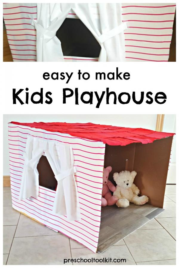 Cardboard box tiny house for kids pretend play