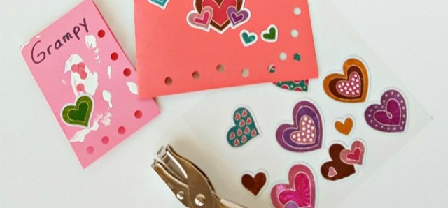 Cards kids can make with hole punch and stickers to send Valentine greetings to family