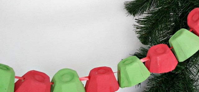 Christmas decoration kids craft recycled egg cup garland