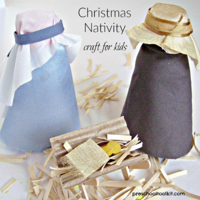 Christmas nativity family craft easy to make with recyclables