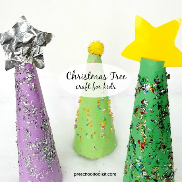 Easy Christmas tree craft for kids - Preschool Toolkit