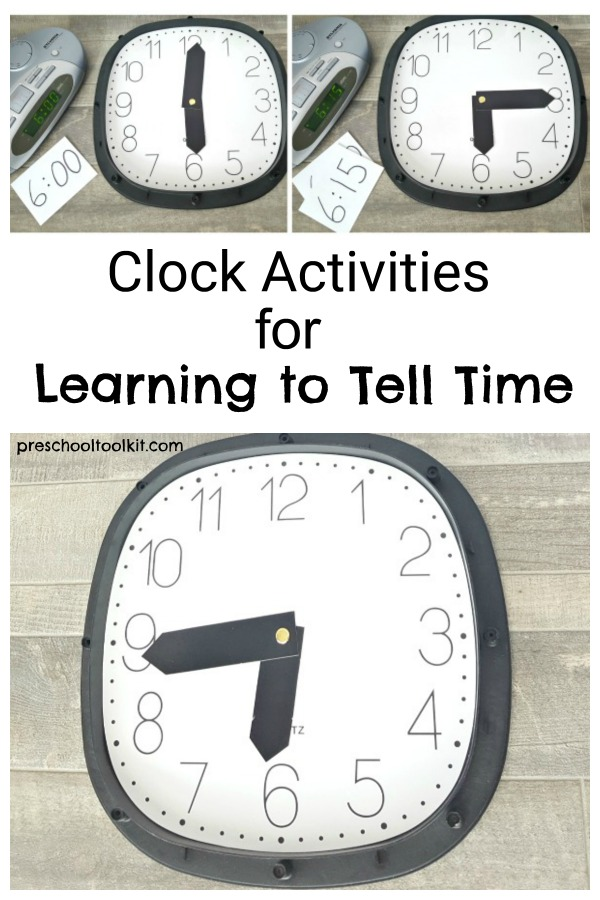 Clock activities for learning to tell time with kids